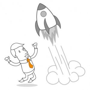 Geschäftsmann, Rakete, Erfolg, Neustart