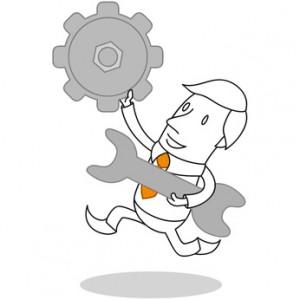 Geschäftsmann, Mechaniker, Reparatur, Schraubenschlüssel